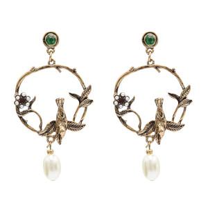 E-4867 Vintage Elegant Acrylic Pearl Flower Bird Drop Dangle Earrings