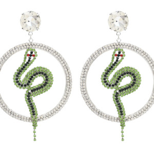 E-4866 Luxury Crystal Big Cirlce Snake Shape Long Drop Earrings for Women Bridal Wedding Party Jewelry