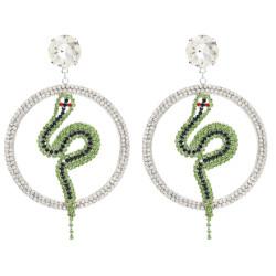 E-4866 Luxury Crystal Big Cirlce Snake Shape Long Drop Earrings for Women Bridal Wedding Party Jewelry