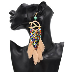 E-4877 5 Colors Trendy Alloy Tassel Bead Feather Earring For Women Jewelry Design