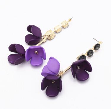 E-4878 6 Colors Trendy Acrylic Flower long Pendant  Drop Earrings Crystal Dangle Earrings For Women Jewelry Design