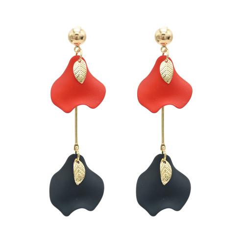 E-4874 Korean Style Cute Morning Glory Leaves Pendant Drop Earrings for Women