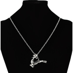 N-7119 2 Colors Unique Crystal Shinning Deer Shaped Pendant  Necklaces Long Chains Necklace Scarf Brooches Charming Jewelry