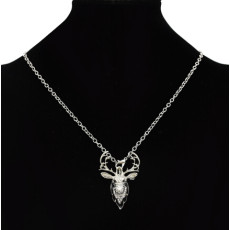P-0418 Retro silver gold Metal Hunting Animal Deer Elk Head Brooch Pin & Necklace For Women Girls