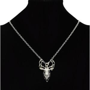 Retro silver gold Metal Hunting Animal Deer Elk Head Brooch Pin & Necklace For Women Girls