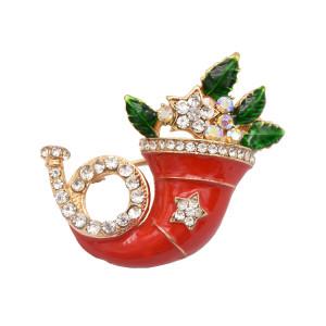 Creative Brooch Pin Pendant Necklace Christmas Gift Enamel Rhinestone Wedding Jewelry