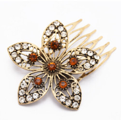 F-0531 Vintage Gold Metal Flower Rhinestone Hairwear Hair Combs for Women Boho Party Jewelry