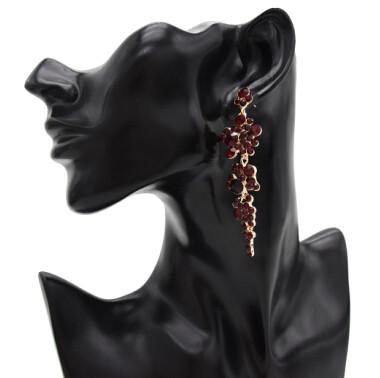 E-4873 Elegant Red Flower Shaped Crystal Rhinestone Long Drop Earrings for Women Wedding Party Jewelry