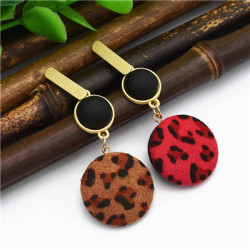 E-4882  Trendy Sexy Leopard Print Flannelette Grind Drop Earring For Women Jewelry Design