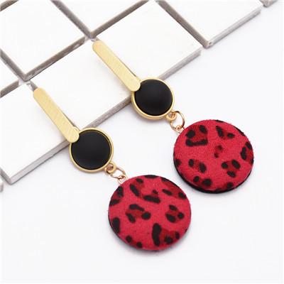 E-4882  Trendy Sexy Leopard Print Flannelette Grind Drop Earring For Women Jewelry Design