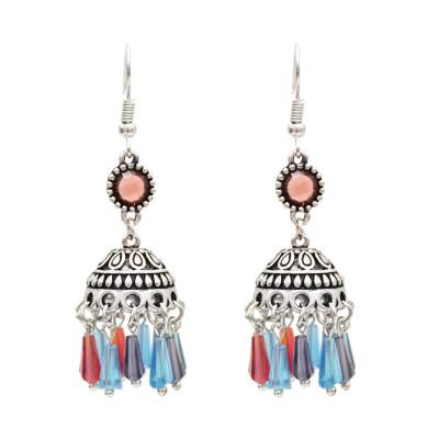 E-4883 Bohemian Tassel Acylic Beads Pendants Drop Dangle Earrings Statement Earring Fish Hook Earring for Women