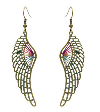 E-4641 3 Styles Vintage Bronze Bohemian Geometric Skull Wing Drop Earrings Party Jewelry