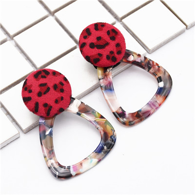 E-4881 2 Colors Personality  Big Fashion  Spot Pattern Cloth Square Triangle  Drop Earrings  Gold Metal Geometric Earrings