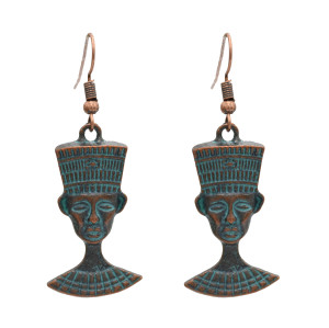 E-4885 Vintage Tribal Ethnic Indian Heads Ax Pendant Drop Dangle Earrings for Women