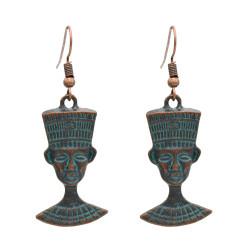 E-4885 Vintage Tribal Ethnic Indian Heads Ax Pendant Drop Dangle Earrings for Women