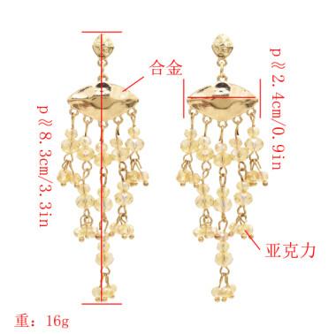 E-4880 Bohemian Tassel Acylic Beads Pendants Drop Dangle Earrings Statement Earring French  Hook Earring for Women