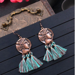 E-4890 3 Colors  Bronze thread Thread Tassel Drop Dangle Earrings Jewelry