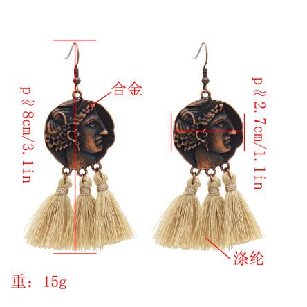 E-4890 3 Colors  Bronze thread Thread Tassel Drop Dangle Earrings Jewelry
