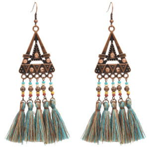 E-4887  Ethnic Resin Beads Cotton Thread Long Tassel Drop Earrings for Women Boho Wedding Party Jewelry