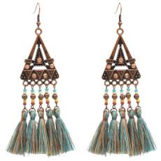 E-4887  Ethnic Resin Beads Cotton Thread Long Tassel Drop Earrings for Women Boho Wedding Party Jewelry