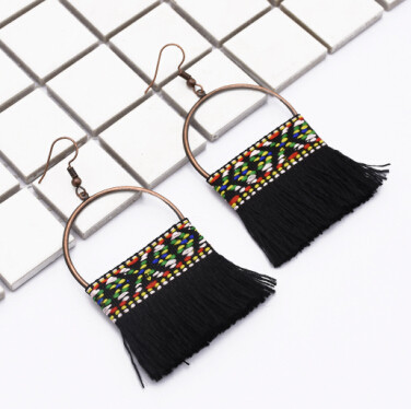 E-4891 7Colors Ethnic African Tribal  Cotton Thread Long Tassel Drop Earrings for Women Boho Wedding Party Jewelry