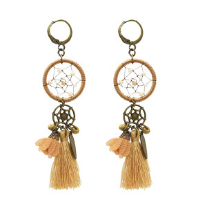 E-4893 3 Styles Vintage Bronze Bohemian Dream catcher Thread Tassel Dangle Earrings