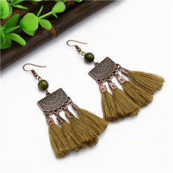 E-4889 Trendy Ethnic Thread Long Tassel Drop Earrings For Women Jewelry Design