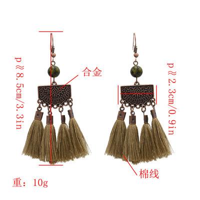 E-4889 Trendy Ethnic Thread Long Tassel Drop Earrings For Women Jewelry Design