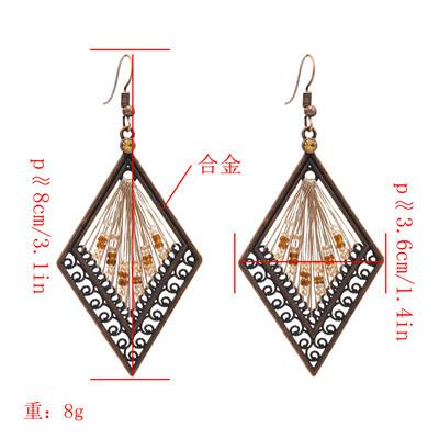 E-4894 Vintage Alloy Hollow Out Big Fashion  Rhombus Dangle Drop Earrings  Geometric Earrings