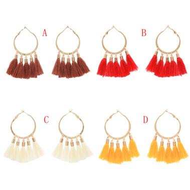 E-4899 4 Colors Fashion Boho Tassel Hoop Earrings for Women Bohemia Statement Fringe Earings Circle Vintage Geometric Jewelry
