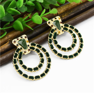 E-4898 3 Colors Trendy Suede Round Drop Earrings For Women Jewelry Jewelry