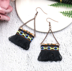 E-4900 4 Colors Ethnic African Tribal  Cotton Thread Long Tassel Drop Earrings for Women Boho Wedding Party Jewelry