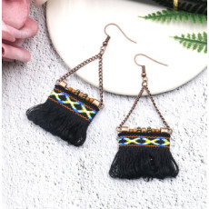E-4900 4 Colors Ethnic African Tribal  Cotton Thread Long Tassel Drop Earrings for Women Boho Wedding Party Jewelry