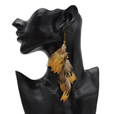 E-4901 3 Styles Colorful Brown Feather Shell Pendant Long Tassel Drop Earrings for Women Boho Party Jewelry