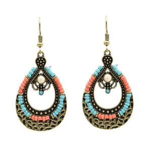 E-4904 Bohemia Vintage Bronze Silver Plated Resin Beaded Dangle Drop Earrings Jewelry