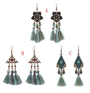 E-4908 3 Styles Vintage Ethnic Cotton Thread Long Tassel Drop Earrings for Women Boho Festival Party Jewelry