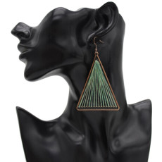 E-4911 Vintage Alloy Hollow Out Big Fashion  Triangle Dangle Drop Earrings Geometric Earrings