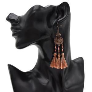 3 Colors Bohimian Vintage Ethnic Thread  Tassel Drop Earrings For Women Jewelry Design