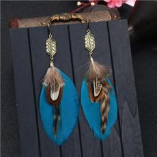 E-4910 3 Color Bohemian Vintage Silver Feather Pendant Drop Dangle Earrings Hook Earring