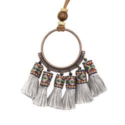 N-7122 Handmade Bohemian Embroidery Tassel Fringe Leather Pendant Necklace