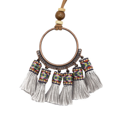 N-7122 Handmade Bohemian Embroidery Tassel Fringe Leather Pendant Necklace