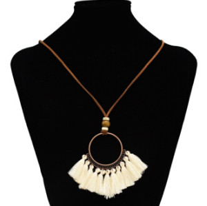 N-7123 Bohemian Vintage Ethnic Leather Rope Chains Pendant Necklaces Elegant Vintage Bronze Circles Long Tassel Drop Earrings Jewelry Set E-4929