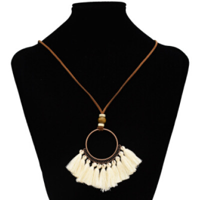 N-7123 Bohemian Vintage Ethnic Leather Rope Chains Pendant Necklaces Elegant Vintage Bronze Circles Long Tassel Drop Earrings Jewelry Set E-4929