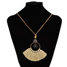 N-7124 8 Color Handmade Bohemian Embroidery Tassel Fringe Leather Pendant Necklace