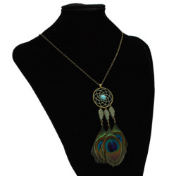 N-7125 3 Styles Bohemian Vintage Feather Bronze Pendant Necklace For Women Jewelry Design