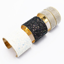 B-0913 Turkish 3 Colors Trendy Unique Full  Shining Crystal Rhinestone Little Acrylic Sequins  Cuff Bracelet& Bangle For Women Jewelry Design