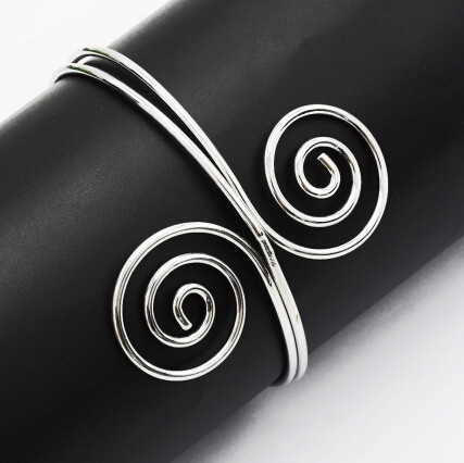 B-0912 Retro Trend Silver Gold Metal Adjustable Double Open End Spiral pattern Bracelet Bangle Cuff Bracelet