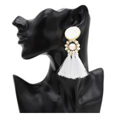 E-4927 8 Colors Bohemian Acrylic Beads Cotton Thread Long Tassel Drop Earrings for Women Party Jewelry
