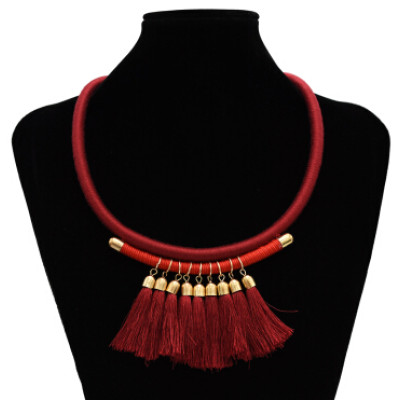 N-7127 3 Colors Bohemain Leather Chain Fringe Tassel Pendant Necklaces for Women Wedding Party Jewelry