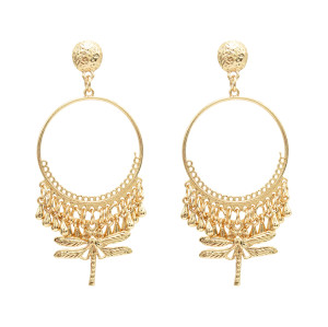 E-4925 Ethnic Fringe Round Metal Dragonfly Pendant Drop Dangle Earrings